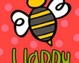 Monogrammed Be Happy Bumble Bee Garden Flag