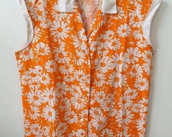 60's 70's | orange flowered blouse with contrast collar and cap sleeve | ladies medium