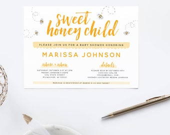 Sweet Honey Child  / Gender Neutral Baby Shower / Baby Shower Invite / Printable Invitation  / Printable Baby Shower Invite / The Busy Bee