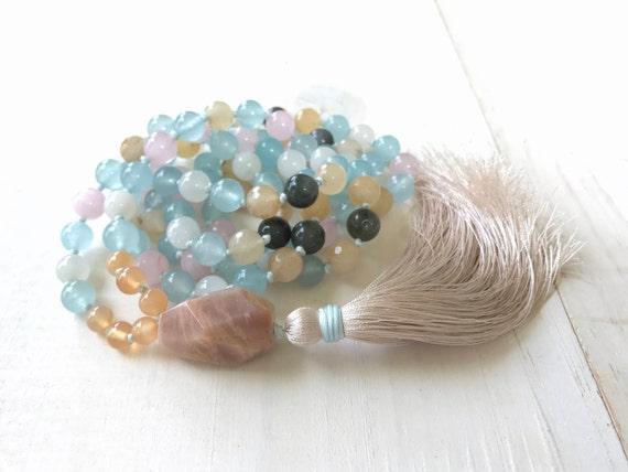 Mala Beads For Fertility, Natural Healing Mala Necklace, Mala For Women, 108 Mala Beads, Hand Knotted Mala, Yoga Meditation Beads