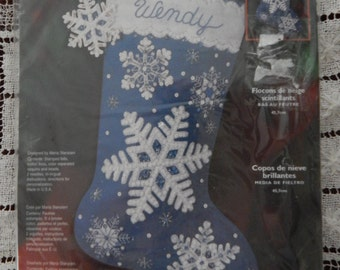 Christmas Felt Stocking Kit, Stamped Felt/ Bucilla Stocking Glittering Snowflakes 84956 Maria Stanziani/ 18 Inch Personalize Sock/ Sealed