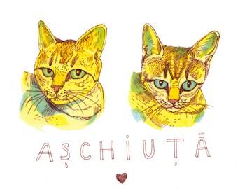 Custom Pet Portrait Cat Portrait Custom Art