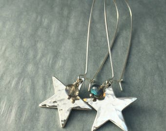 Labradorite Gemstone Long Silver Star Earrings, statement earrings, gift for her, cheer up gift, sister-in-law gift