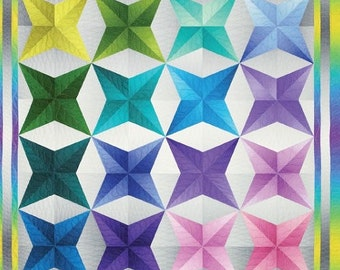 """Quilt Pattern """"Gradient Glow"""" by Cheryl Phillips Phillips Fiber Art Finished Quilt Sizes: 58"""" x 82"""" and 48"""" x 48"""""""