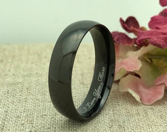 6mm Personalized Black Tungsten Ring, Custom Promise Ring for Him, His Wedding Band, Custom Date Ring, Purity Ring, Coordinates Ring