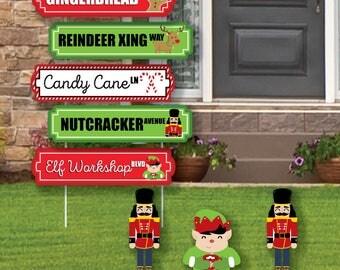 Christmas Street Sign Cutouts   Holiday Yard Signs U0026 Decorations   Christmas  Yard Art   Holiday