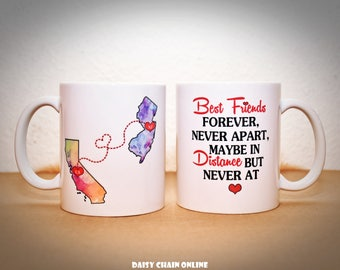 Best Friends Coffee Mug | Cute Mug | Long Distance State Mugs | Custom State Mug | BFF Mug | Sister Mug | Gift for BFF | Gift for Sisters