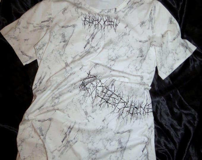 FU** printed white marble T