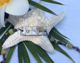 Maui Made Flower design Enameled bracelet