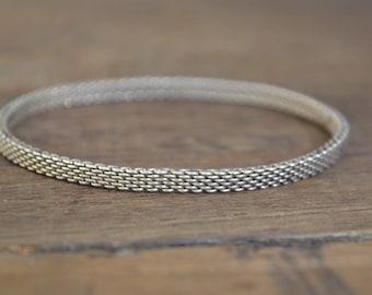 Tiffany mesh bracelet, tiffany sterling bracelet, tiffany mesh round bangle, tiffany narrow mesh bracelet, Tiffany & Co Somerset Bangle