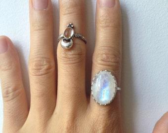 RESERVED for Karla ***** Rainbow Lightning Bolt Moonstone Ring || Vintage-Inspired, Sterling Silver, Handmade