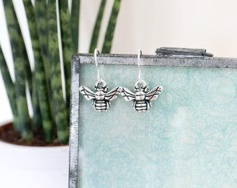 Bee Silver Earrings • Jewellery, sterling, honey, bumble, gifts for her, wildlife, countryside, woodland, beekeeper, wasp, christmas, insect
