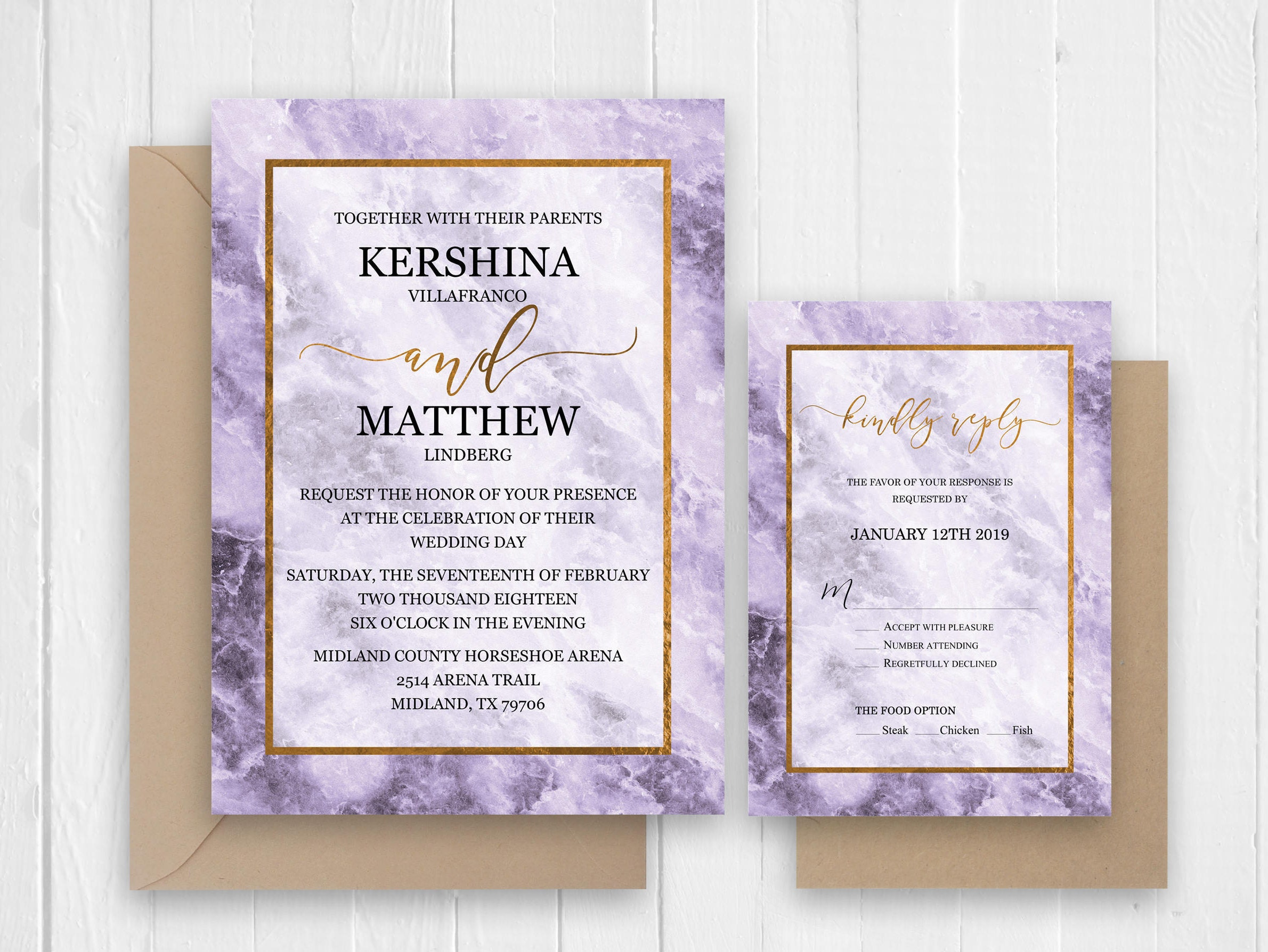 Purple marble wedding invitation set, Invitations Announcement ...