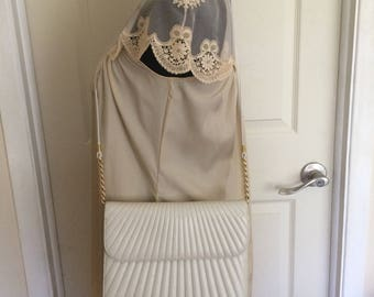 Vintage Due Fretelli Genuine Leather White Evening Bag with Diagonal Stitching and Gold Tone Accents