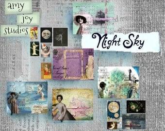 Night Sky  Printable Journal Paper  Junk journal kit  Vintage journal  DIY  mini album  smashbook  scrapbook  celestial  digital journal