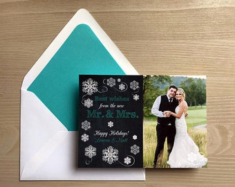 Our First Christmas Best Wishes from the new Mr. & Mrs. Photo Christmas Card • chalkboard • snowflakes • teal and white chalk • 1st holiday