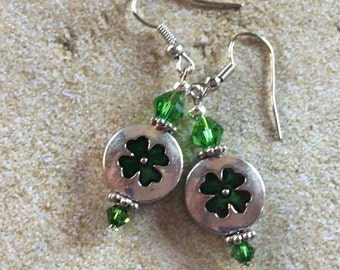 St Patrick's Jewelry, St Patrick's Earrings, Lucky Shamrock Earrings, Green Earrings, Jewelry
