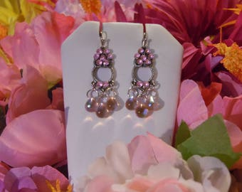 Sale - SEXY Rosey ROSALINE - Silvertone Genie Swarovski Crystal Flower Earrings with Rosaline AB Czech Crystal Teardrops - Pair of Earrings