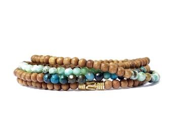 sandalwood gemstone bracelet stack / gold, chrysocolla, turquoise, agate sandalwood gemstone bracelets / 3mm sandalwood women bracelet