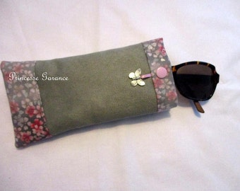Suede eyeglass or Sunglass case and cotton cherry blossom - in stock