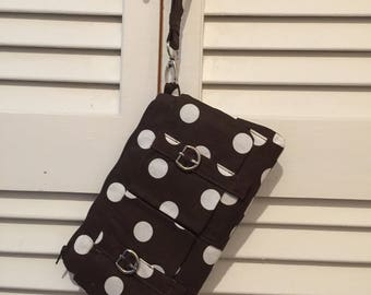 Brown polka dot clutch handbag