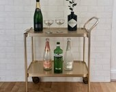 Original Vintage Pale Gold Anodised Metal Textured Removable Tray 2 Tier Wheel Hostess Tea Drinks Trolley Bar Cart