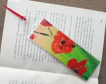 Poppy bookmark Poppy print Bookmark poppies Bookmark poppy Bookmark flower Bookmark nature art Readers gift Hand made bookmark Gift for her