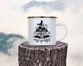 Camp Cup Only One Who Wanders Finds New Paths - Enamel Camp Mug - Dishwasher Safe