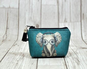 Elephant gift coin wallet, Elephant keychain wallet, Elephant key fob wallet Coin purse Cute wallet, Earphone holder, Elephant wallet small