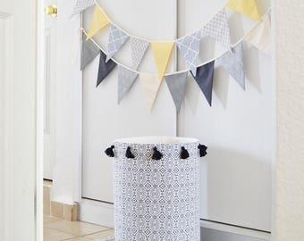 Toy storage basket. Laundry basket. Laundry hamper. Tassels.  Nursery fabric basket. Baby hamper. Black and white Canvas storage bin Toy box
