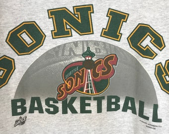 Vintage 90's Seattle Supersonics Basketball T Shirt, Size Large, Made In USA, Immaculate Condition, Shawn Kemp, Gary Payton.