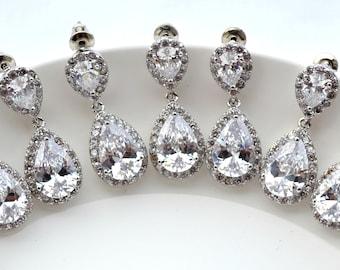 Bridesmaid Earrings Set of 5 Gold Plated Cubic Zirconia Earrings Crystal Wedding Jewelry Bridesmaid Gift