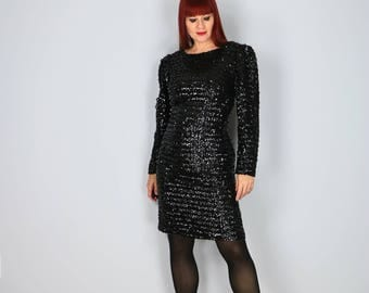 1980s Black Sequinned Party Dress - Medium - Long Sleeve - Fitted Sexy Little Black Dress - Body Con - Vintage LBD Cocktail Dress