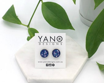 Hand painted 10mm round speckled bamboo stud earrings (with hypoallergenic surgical steel posts & backings)