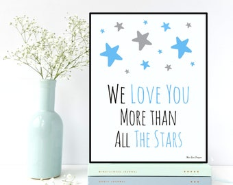 Nursery decor wall art, Baby boy gift, Love you print, Nursery quote print, Baby boy nursery decor, Nursery boy decor, Stars poster