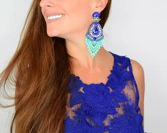 Blue Turquoise Earrings,Fashion Jewelry,  Fashion Earrings, Lace Earrings, Chandelier Earrings, Handmade Earrings, Statement Earring, Gift