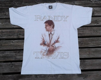 Vintage Deadstock 1992 Randy Travis High Lonesome Concert Tour white t-shirt Made in USA large
