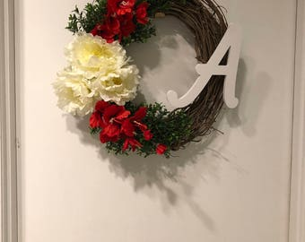 Summer, Spring or Fall Red and White Monogram wreath