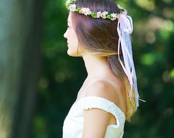 Flower Crown, Adult Flower Crown, Bridal Flower Crown, Bridesmaid Flower Crown, Flower Girl Crown, Pink Flower Crown, Wildflowers Crown