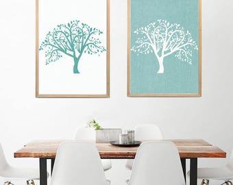 Set of 2 Tree of Life Prints Minimalist Prints, Abstract Art, Abstract Prints Dowload, Large Wall Art Teal Wall Art printable art