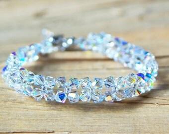 Swarovski Bracelet Swarovski Crystal Bracelet Bridal Wedding Bridesmaid Swarovski Bracelet Crystal AB Bracelet Statement Bracelet Jewelry