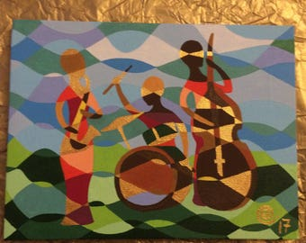 """Colourful acrylic painting of musician trio - """"jazz waves"""""""