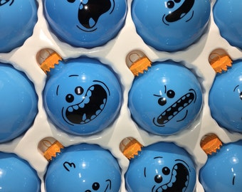 Rick and Morty Mr Meeseeks Hand Made Glass Ball Christmas Ornaments - Set of 6 USPS Priority Shipping