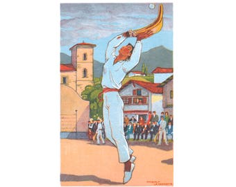 Basque country, player with ball, Cesta, drawing, J LE TANNEUR, reproduction, vintage, poster, wall art, Basque Country, wall decor