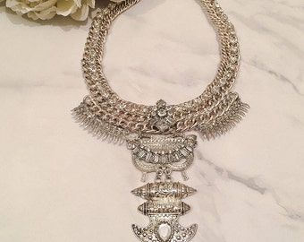 Silver & Gold Statement Necklace || Women's Necklace
