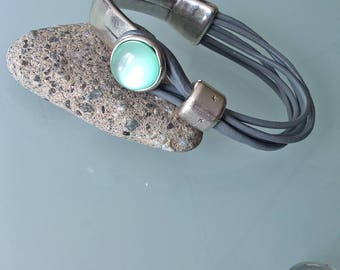 Grey genuine leather Bangle Bracelet