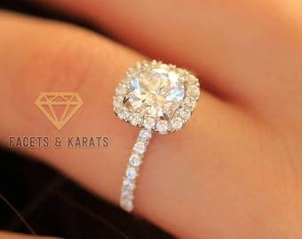 18k White Gold Cushion Cut Halo Engagement Ring, 2 Carat Round Cut Bridal Wedding Ring Lab Created Man Made Synthetic Simulated Diamonds