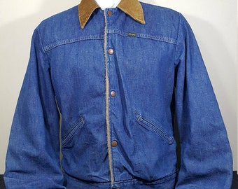 Wrangler Classic Vintages Jeans 70s Wrangler Denim Ranch Jacket with Corduroy collar Faux fur lining