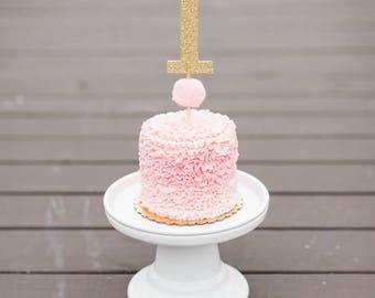 FREE SHIP, 1st Birthday Gold Glitter Pom Pom Cake Topper, 1 Cake Topper, One Cake Topper, First Birthday Cake Topper, Smash Cake, Pom Pom