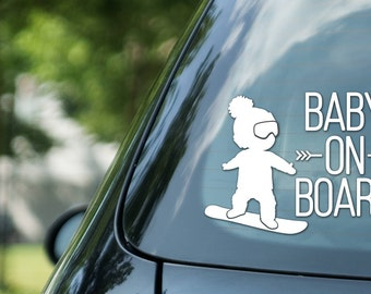 Baby on board sign snowboarding, boy on snowboard, vinyl on decal paper, car decal, kid on board